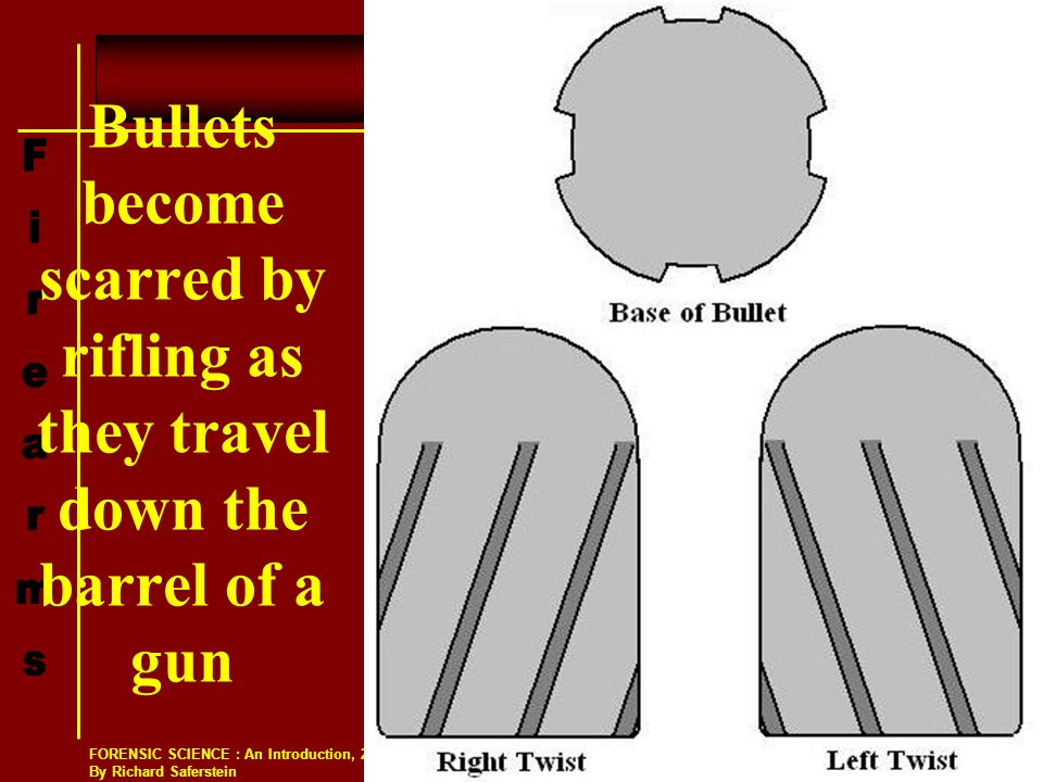 Bullets become scarred by rifling as they travel down the barrel of a gun