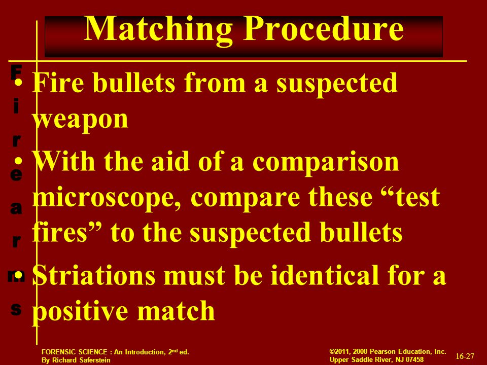 Matching Procedure Fire bullets from a suspected weapon