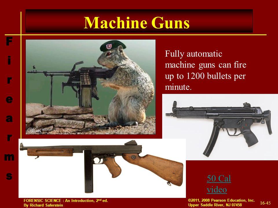 Machine Guns Fully automatic machine guns can fire up to 1200 bullets per minute. 50 Cal video