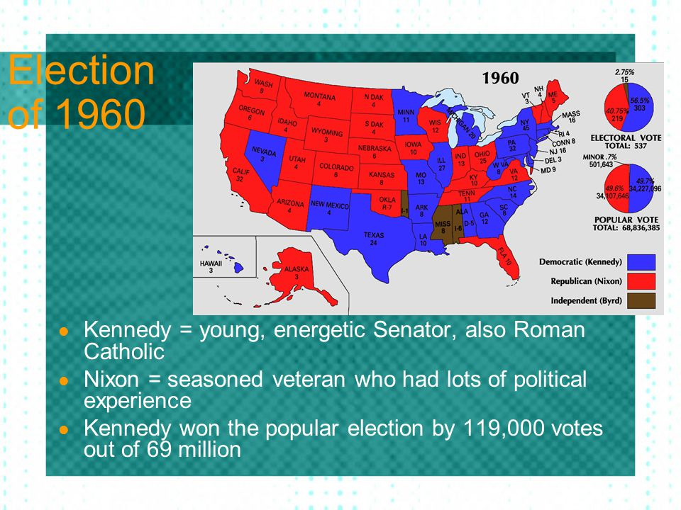 Election of 1960 Kennedy = young, energetic Senator, also Roman Catholic. Nixon = seasoned veteran who had lots of political experience.