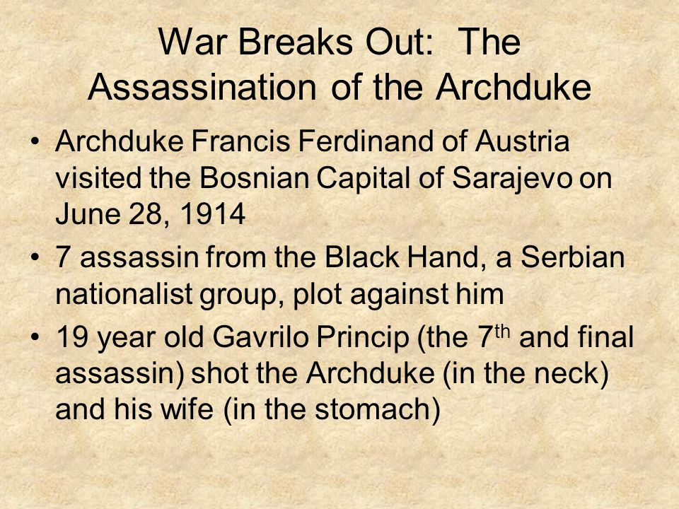 War Breaks Out: The Assassination of the Archduke