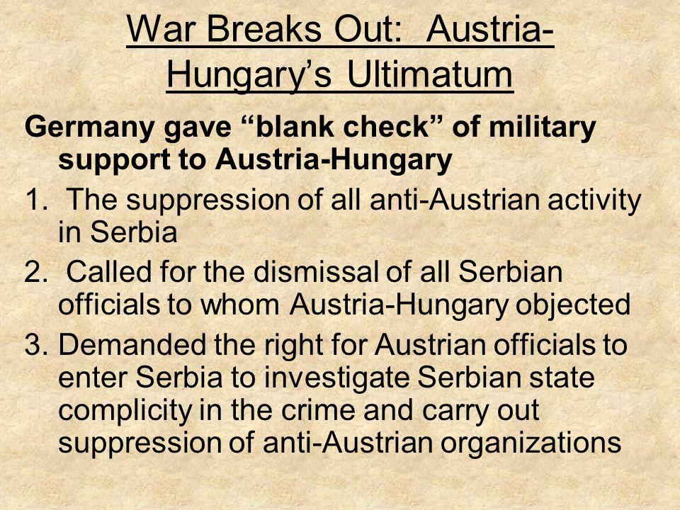 War Breaks Out: Austria-Hungary's Ultimatum
