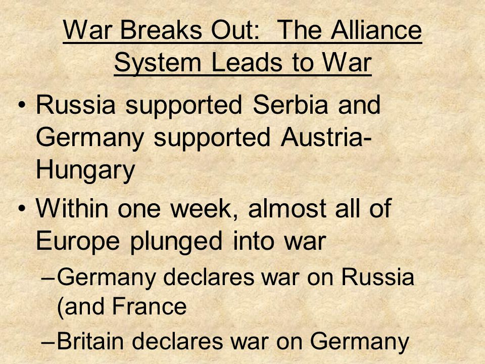 War Breaks Out: The Alliance System Leads to War