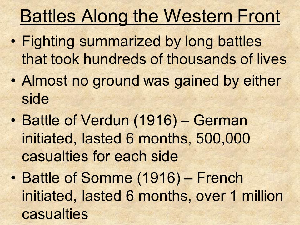 Battles Along the Western Front