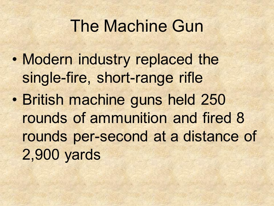 The Machine Gun Modern industry replaced the single-fire, short-range rifle.