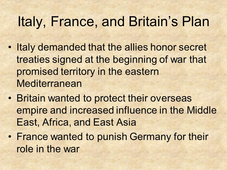 Italy, France, and Britain's Plan