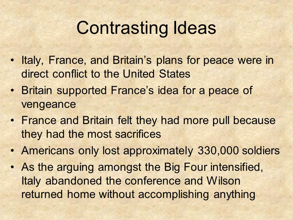 Contrasting Ideas Italy, France, and Britain's plans for peace were in direct conflict to the United States.