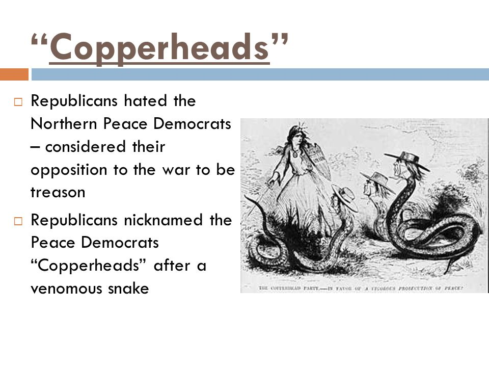 Copperheads Republicans hated the Northern Peace Democrats – considered their opposition to the war to be treason.