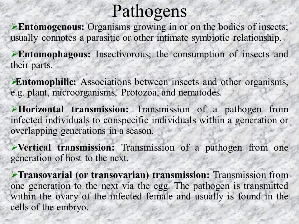 Pathogens Entomogenous: Organisms growing in or on the bodies of insects; usually connotes a parasitic or other intimate symbiotic relationship.