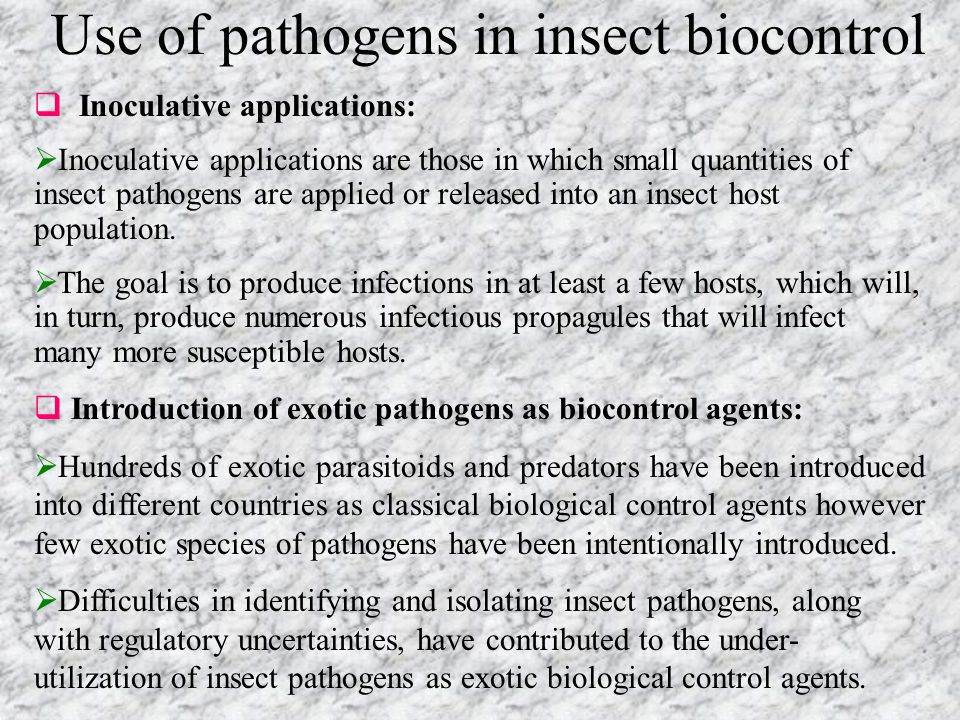 Use of pathogens in insect biocontrol