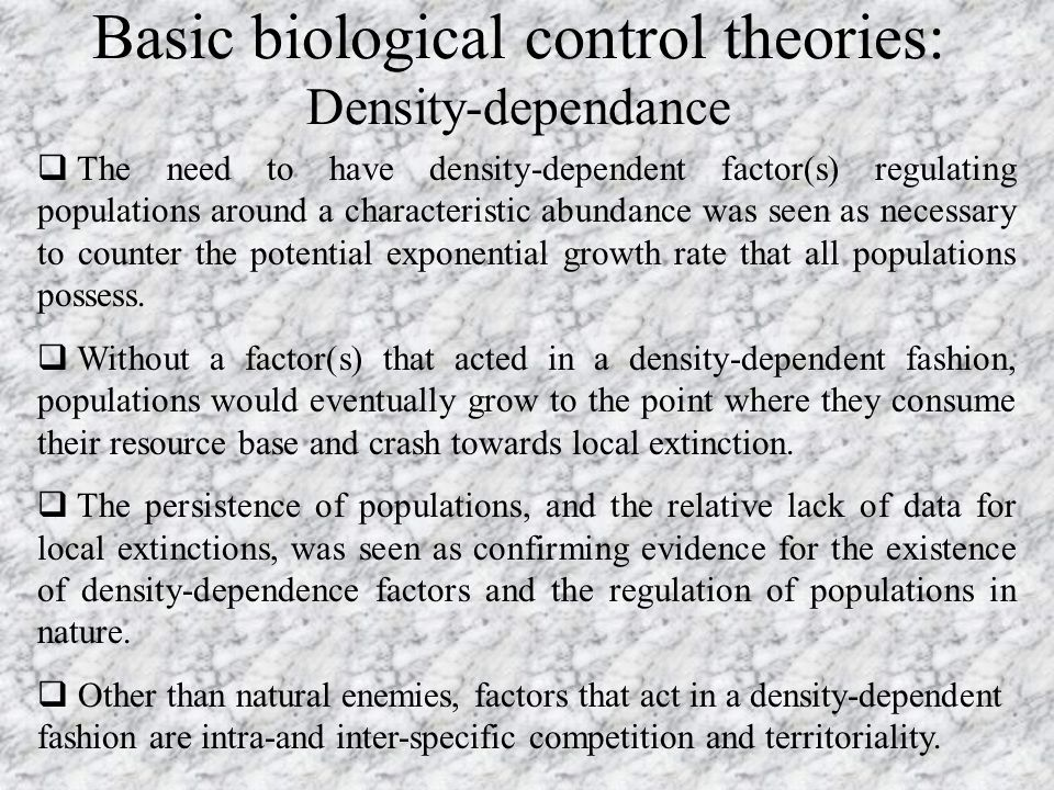 Basic biological control theories: Density-dependance