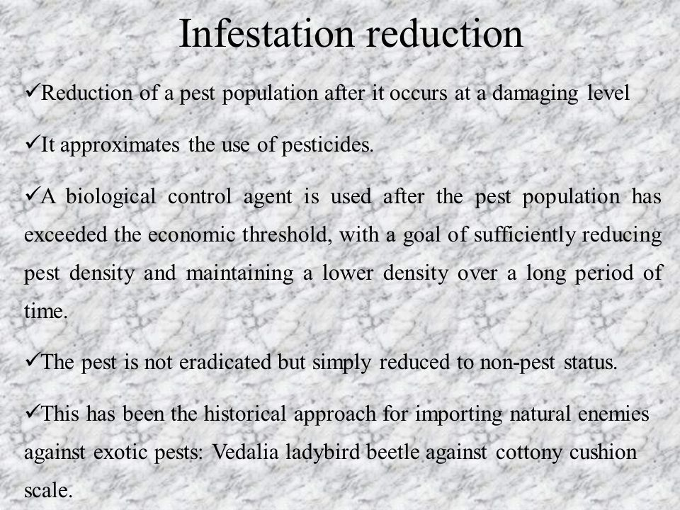 Infestation reduction