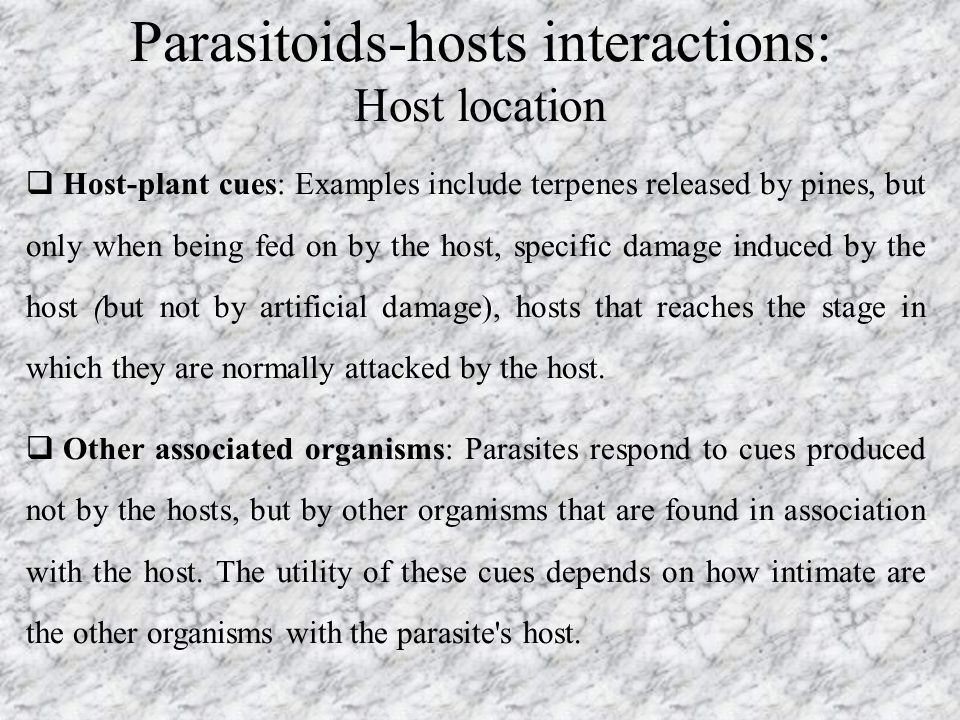 Parasitoids-hosts interactions: Host location