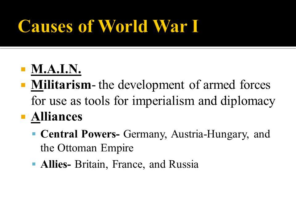 Causes of World War I M.A.I.N.
