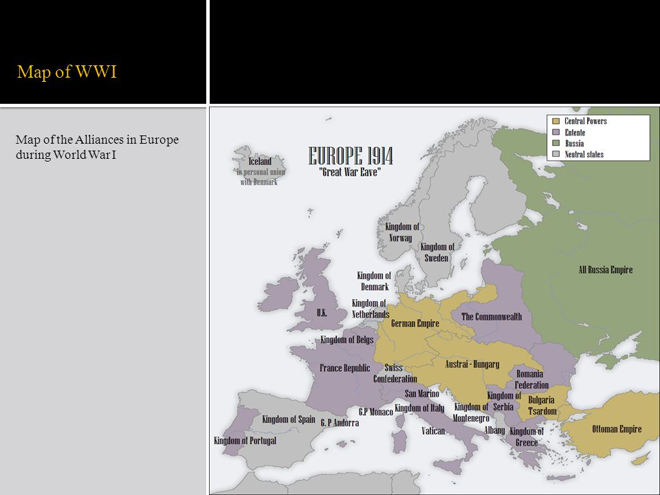 Map of WWI Map of the Alliances in Europe during World War I