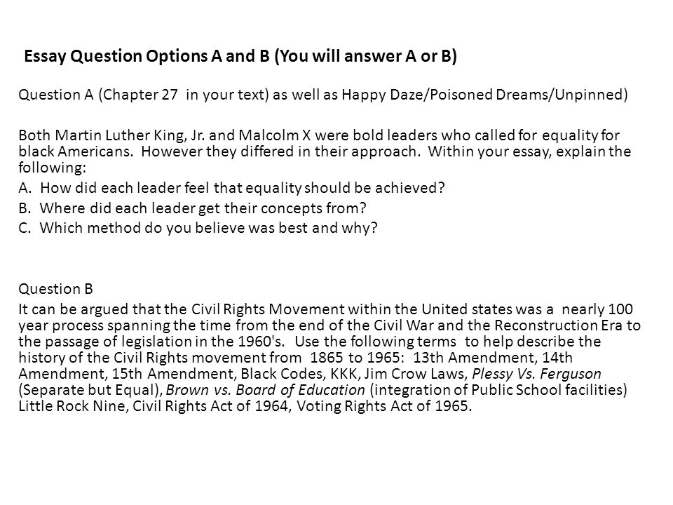Essay Question Options A and B (You will answer A or B)