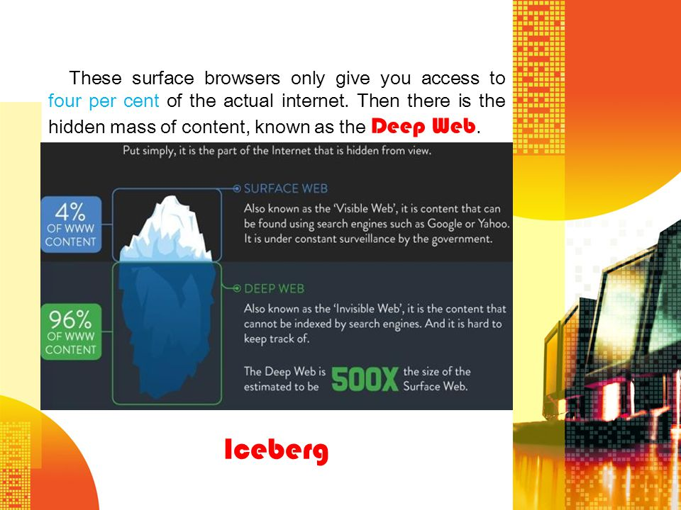 These surface browsers only give you access to four per cent of the actual internet. Then there is the hidden mass of content, known as the Deep Web.