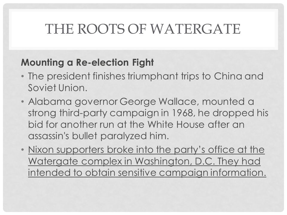 The Roots of Watergate Mounting a Re-election Fight