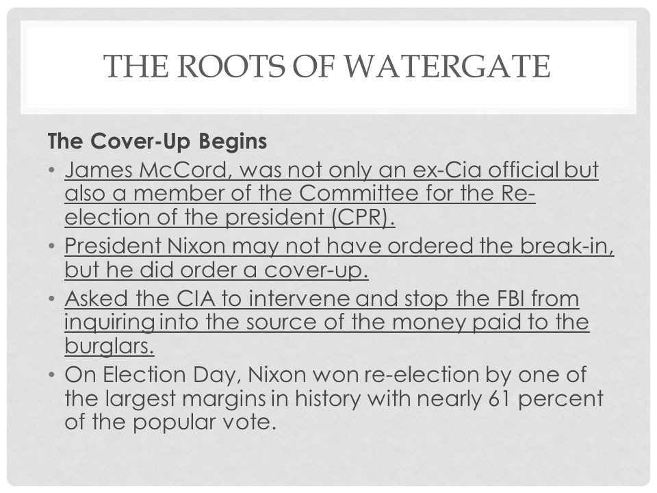 The Roots of Watergate The Cover-Up Begins