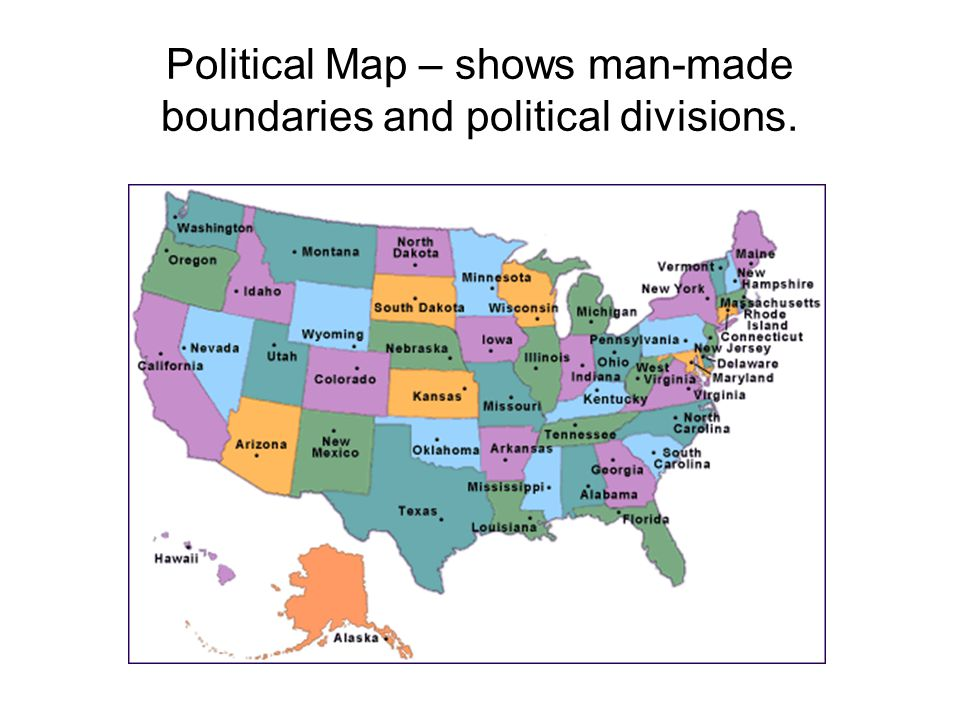 Political Map – shows man-made boundaries and political divisions.
