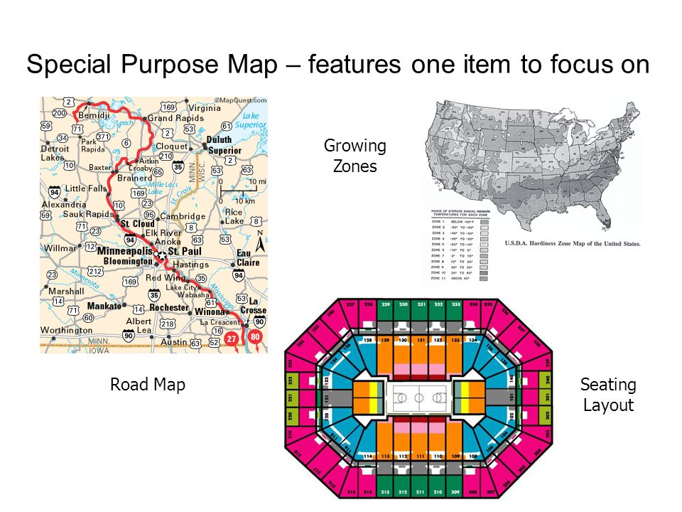 Special Purpose Map – features one item to focus on