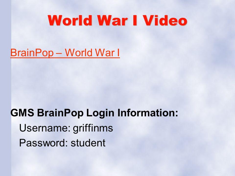 World War I Video BrainPop – World War I