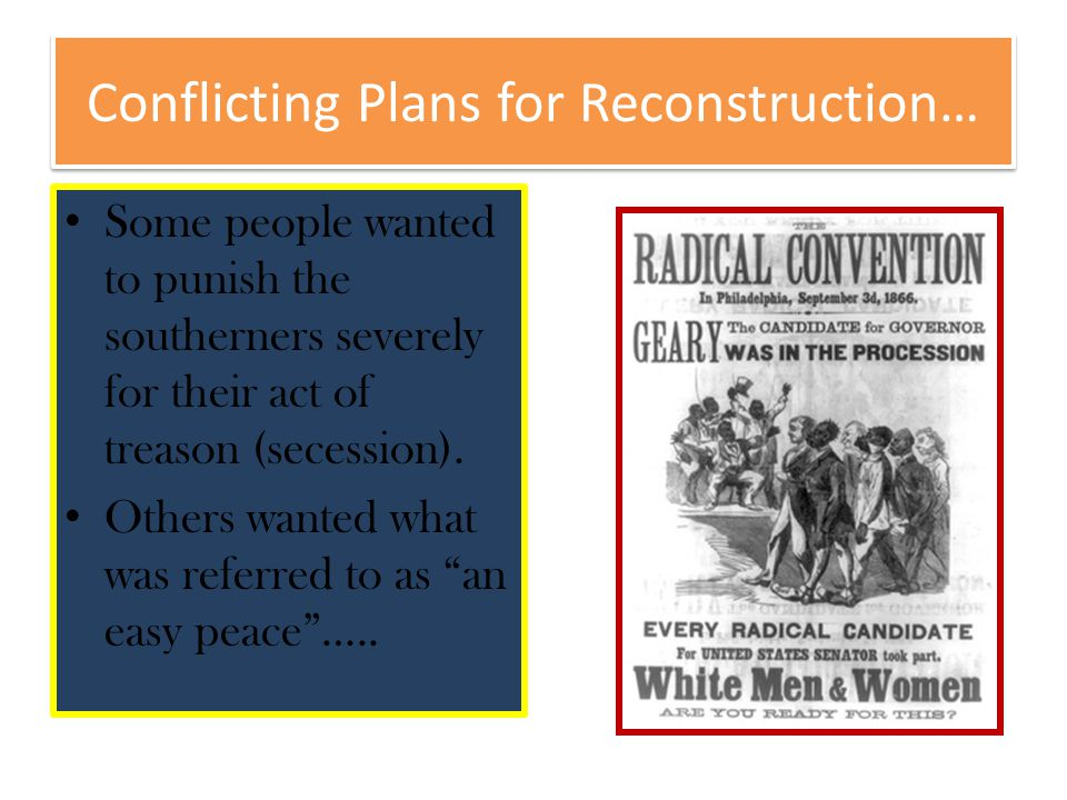 Conflicting Plans for Reconstruction…
