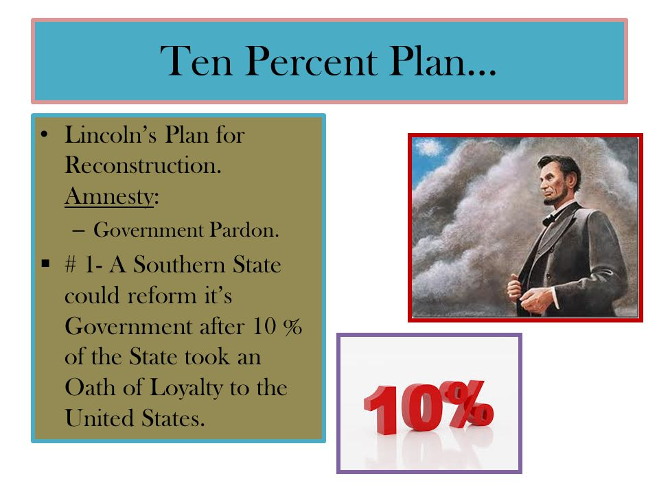 Ten Percent Plan… Lincoln's Plan for Reconstruction. Amnesty: