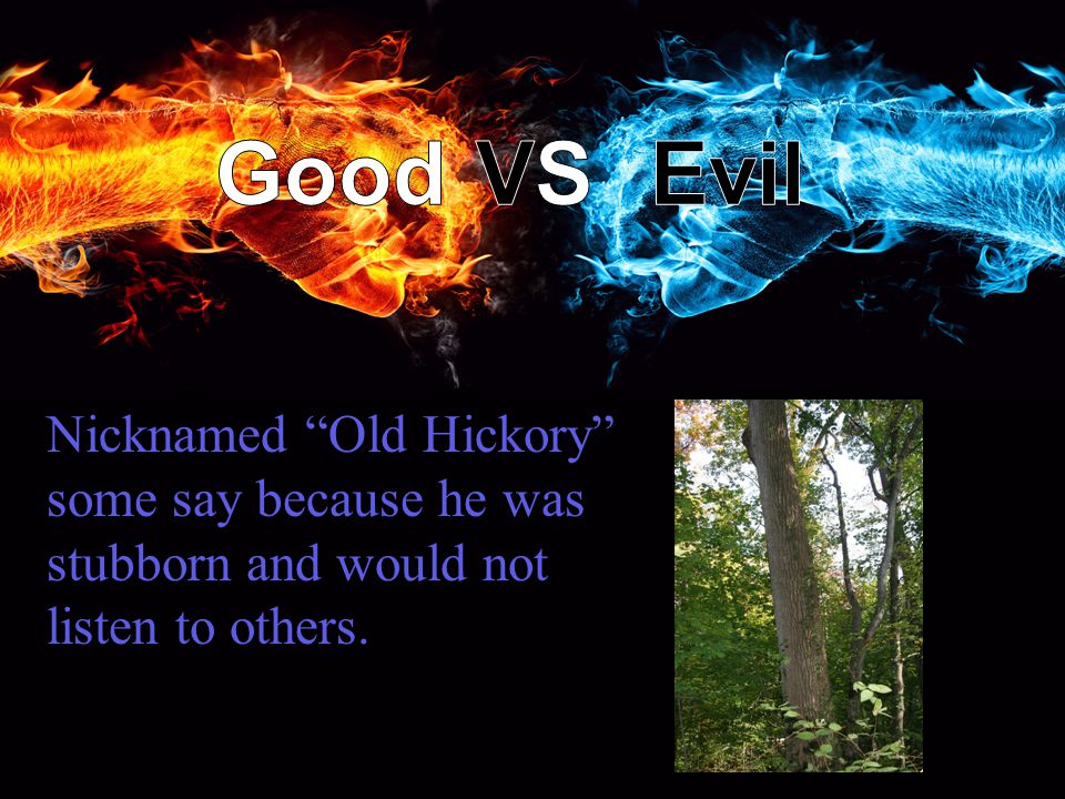 Nicknamed Old Hickory some say because he was stubborn and would not listen to others.