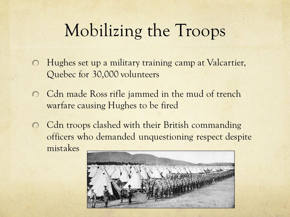 Mobilizing the Troops Hughes set up a military training camp at Valcartier, Quebec for 30,000 volunteers.