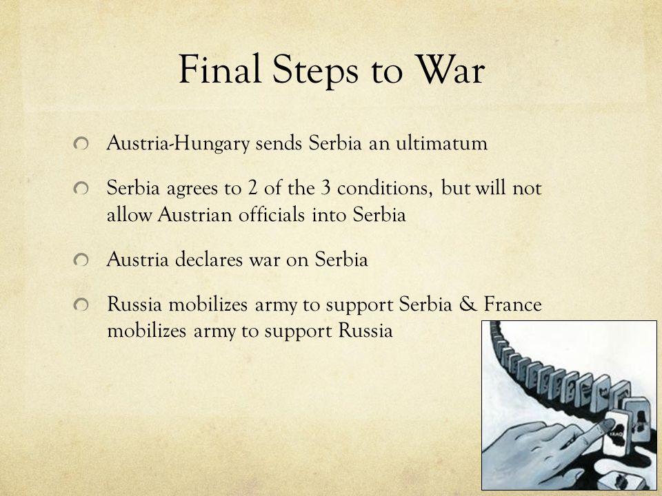 Final Steps to War Austria-Hungary sends Serbia an ultimatum