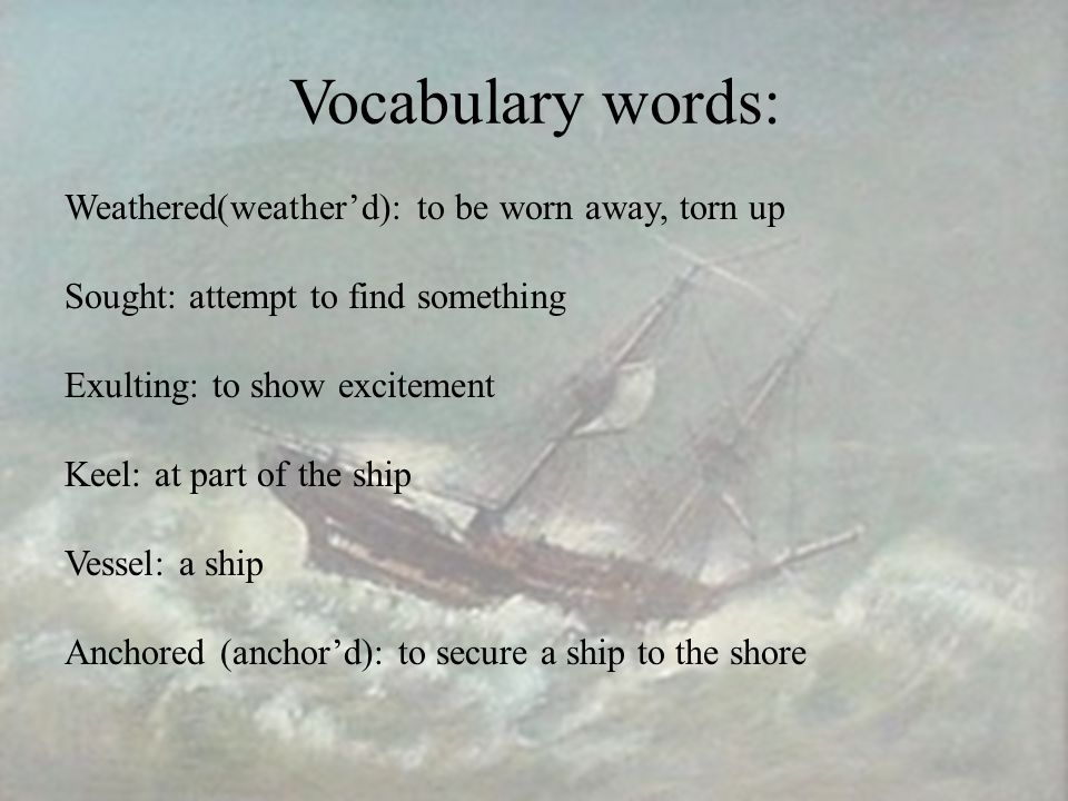 Vocabulary words: