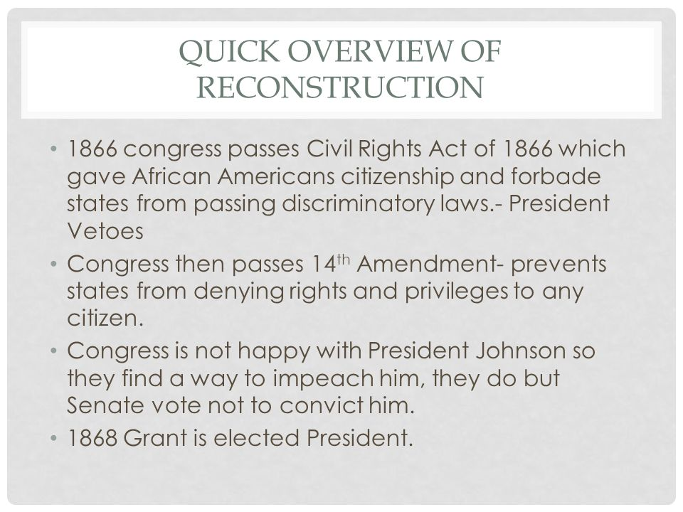 Quick Overview of Reconstruction