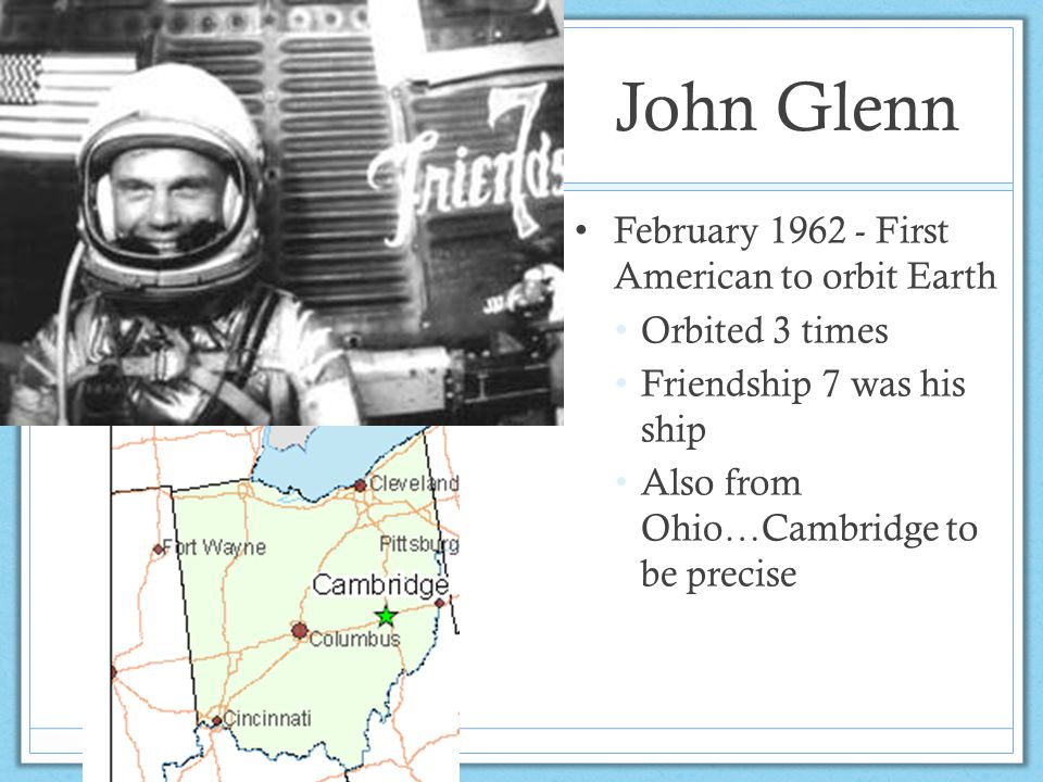 John Glenn February 1962 - First American to orbit Earth