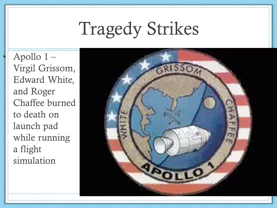 Tragedy Strikes Apollo 1 – Virgil Grissom, Edward White, and Roger Chaffee burned to death on launch pad while running a flight simulation.