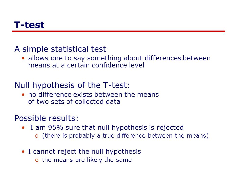 T-test A simple statistical test Null hypothesis of the T-test: