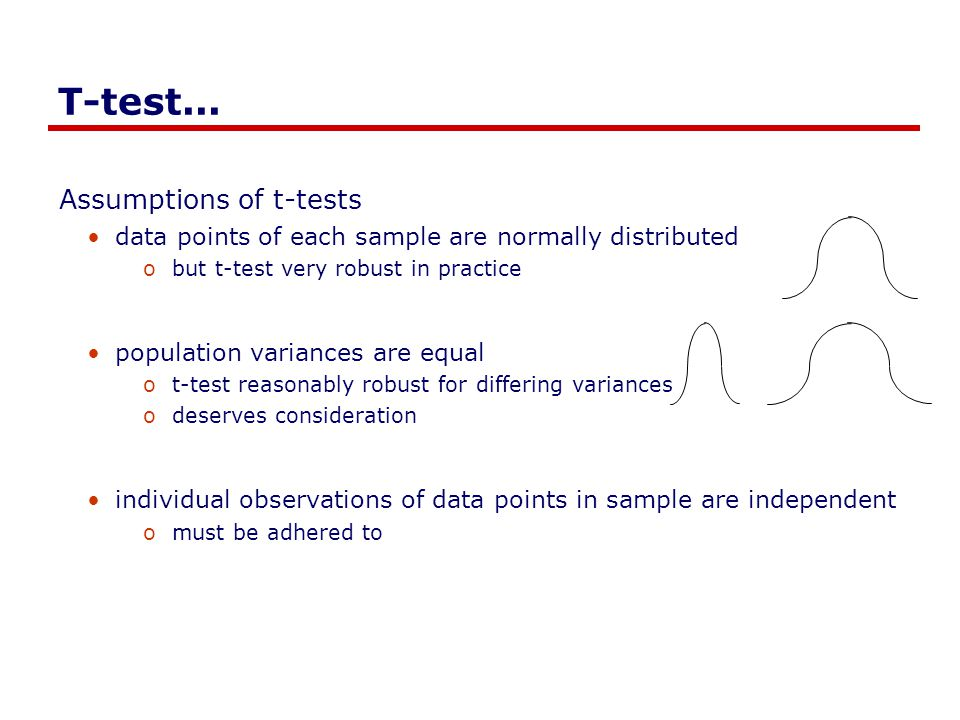 T-test... Assumptions of t-tests