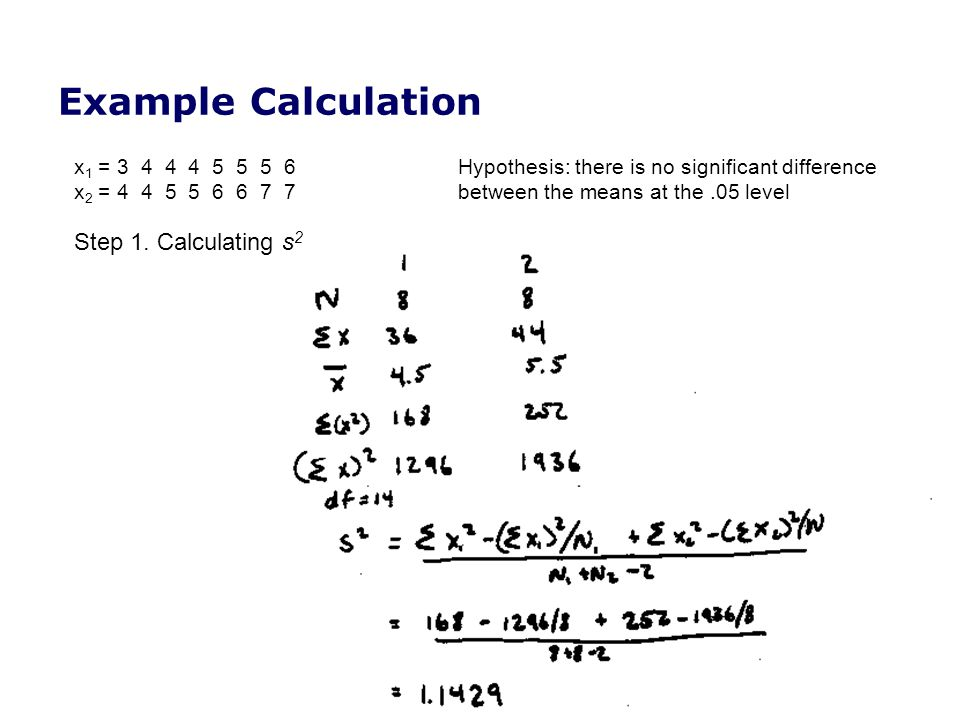Example Calculation Step 1. Calculating s2