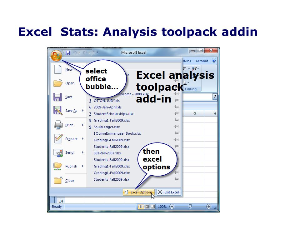 Excel Stats: Analysis toolpack addin