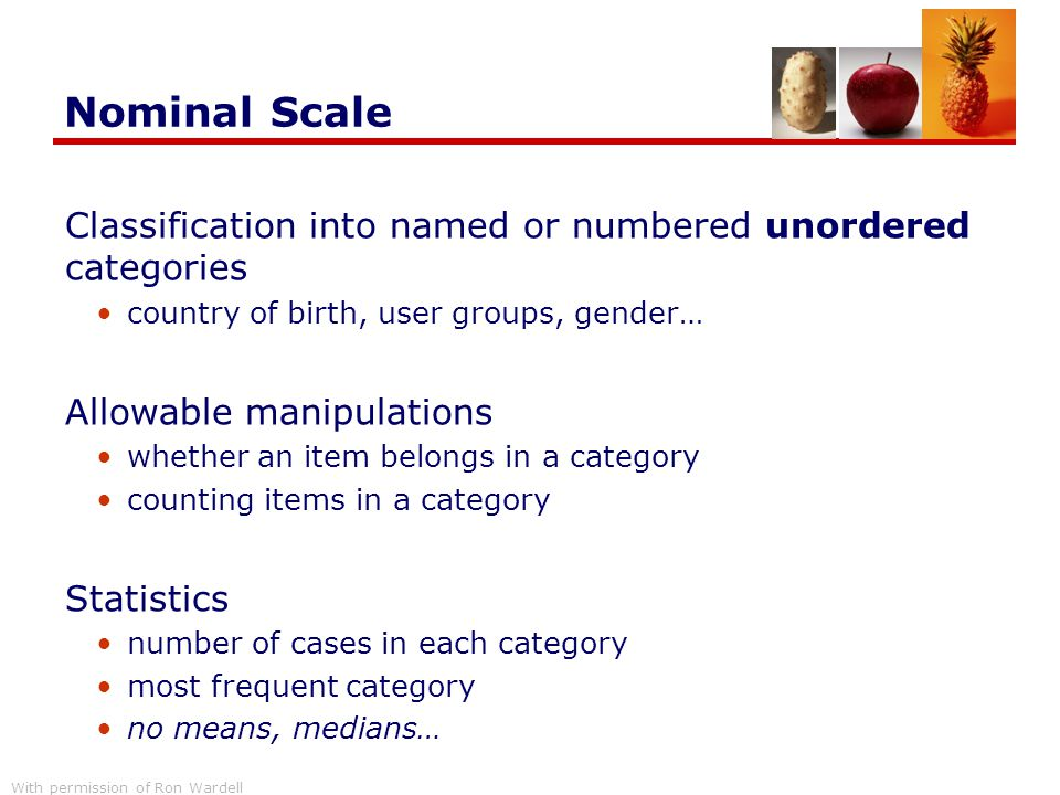 Nominal Scale Classification into named or numbered unordered categories. country of birth, user groups, gender…