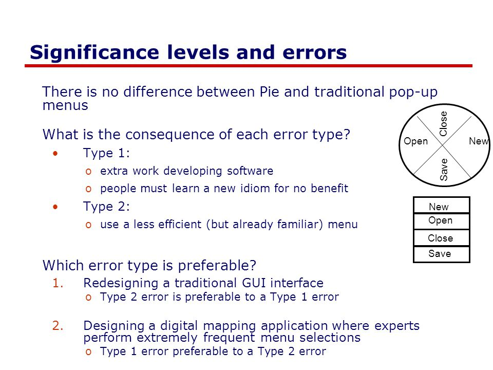 Significance levels and errors