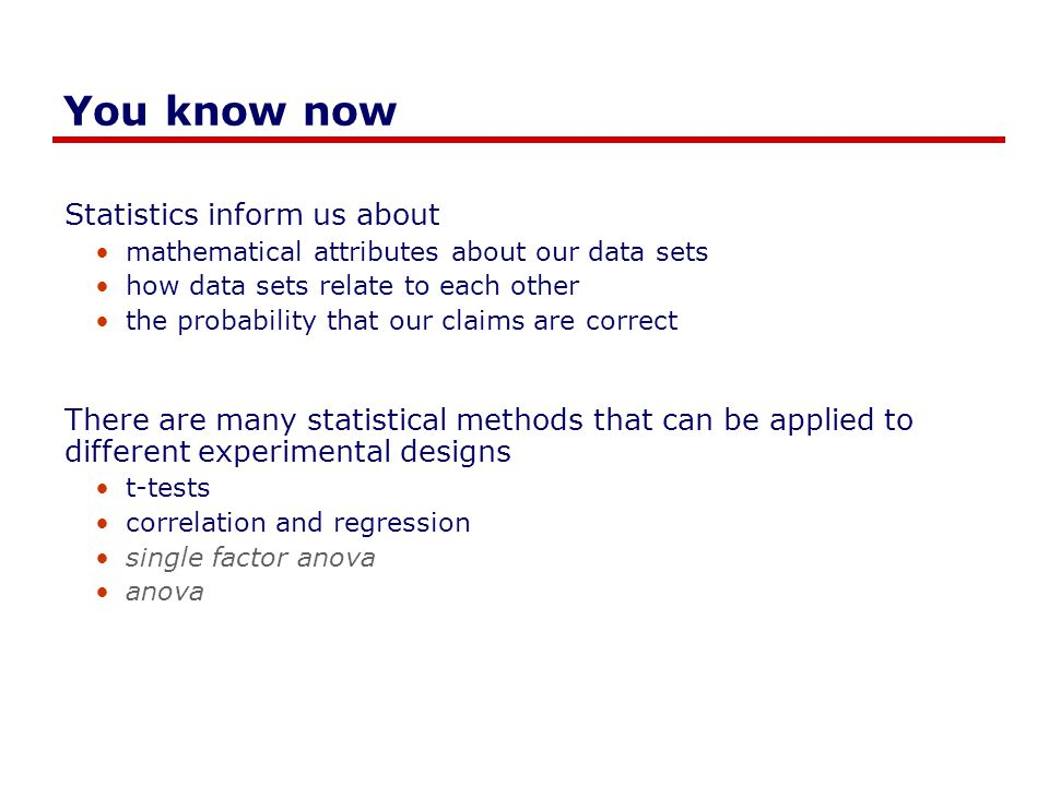You know now Statistics inform us about