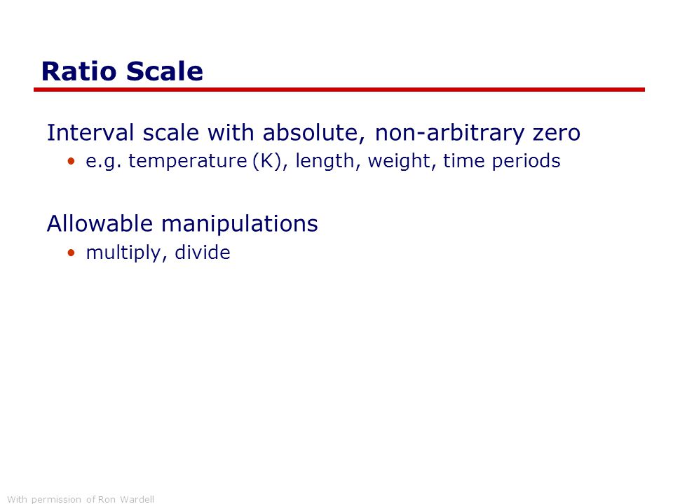 Ratio Scale Interval scale with absolute, non-arbitrary zero
