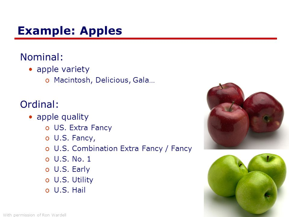 Example: Apples Nominal: Ordinal: apple variety apple quality