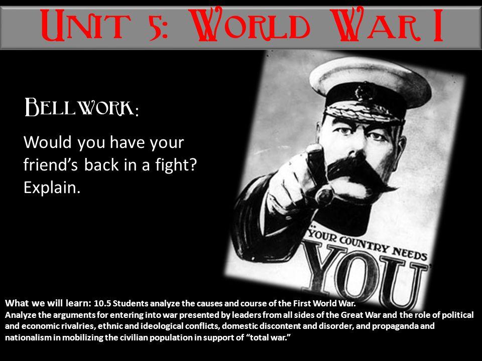 Unit 5: World War I Bellwork: