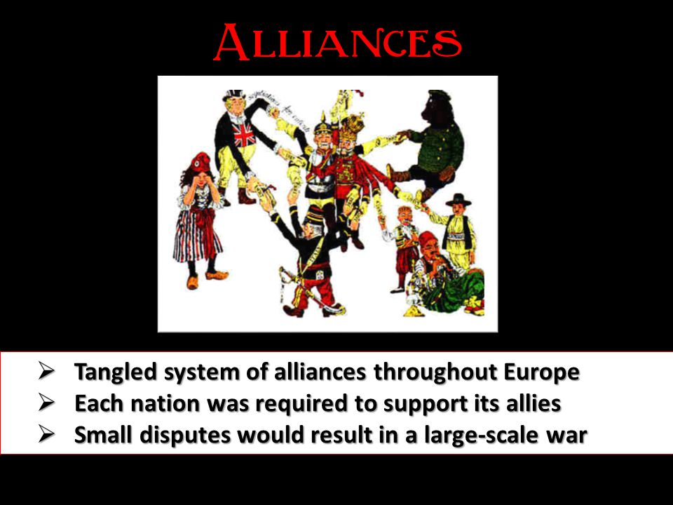 Alliances Tangled system of alliances throughout Europe