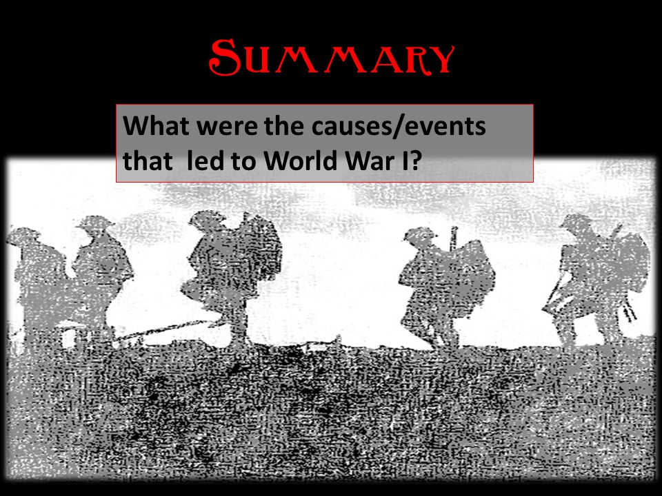 Summary What were the causes/events that led to World War I