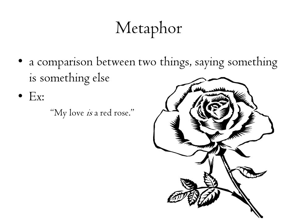 Metaphor a comparison between two things, saying something is something else.