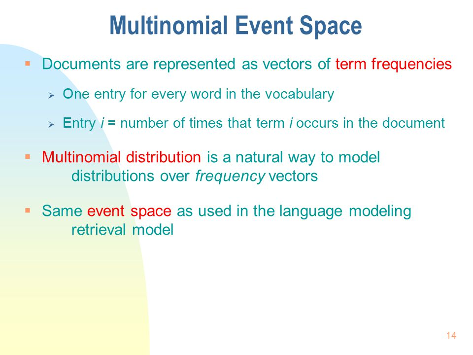 Multinomial Event Space