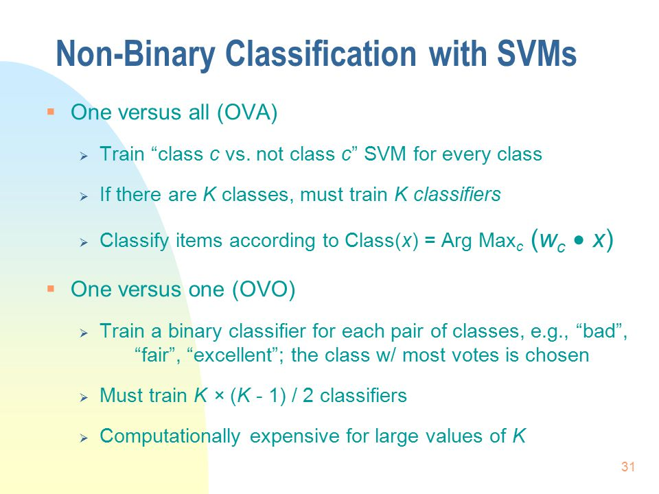 Non-Binary Classification with SVMs